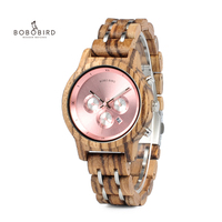 BOBO BIRD Women Luxury Wood Watches Functional Stop Watch saat with Date Display New Design relogio feminino Timepieces C P18