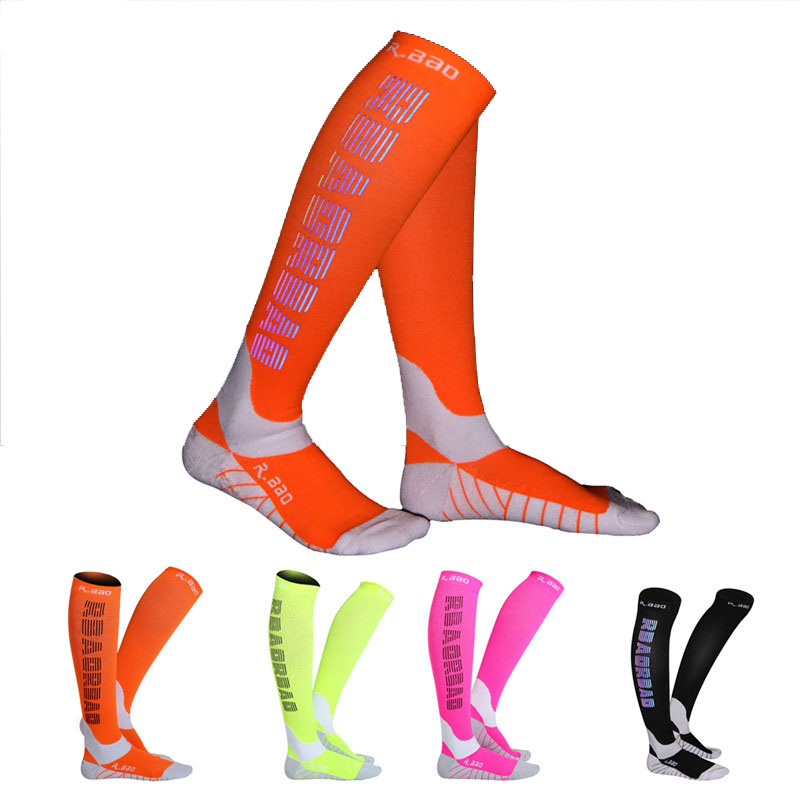1 Pair Professional Marathon Running Socks Long Reflective Compression Socks Sports Protective For Men Women Night Run