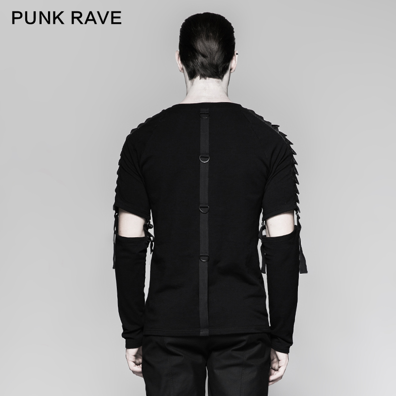 Панк рейв Мужская Панк уличная крутая футболка Готический мотоциклетный стиль модная отстегивающаяся футболка с длинным рукавом хип хоп п... - 3