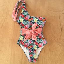 Beachwear Monokini Swimsuit Backless Sexy one-Piece One-Shoulder New Print Women