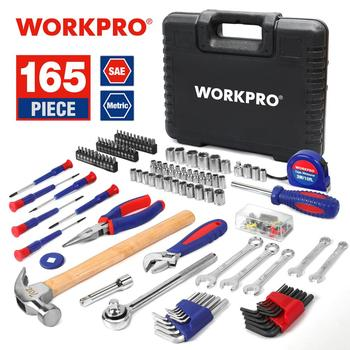 WORKPRO 165PC Home Tools Household Tool Set Wrench Screwdriver Plier Socket Set