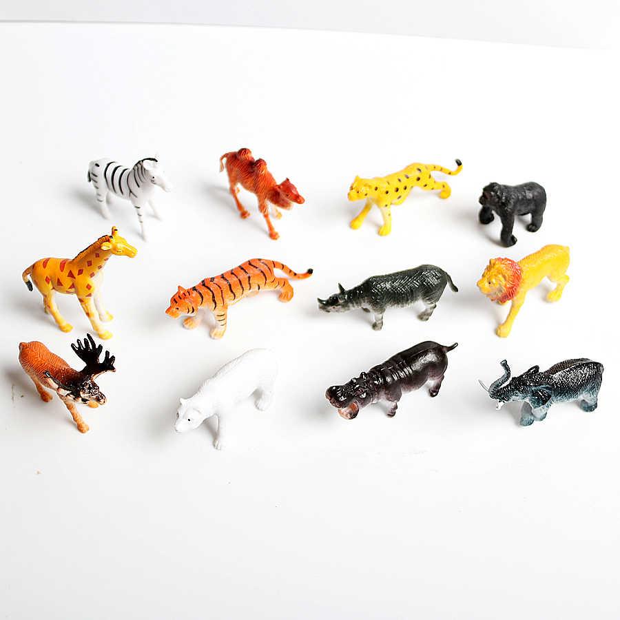 Mini Realista Safari Selvagem Figura de Ação de Animais Do Jardim Zoológico de Animais Da Selva Brinquedos Set com o Tigre, Leão, Elefante, eduactional Brinquedos girafa