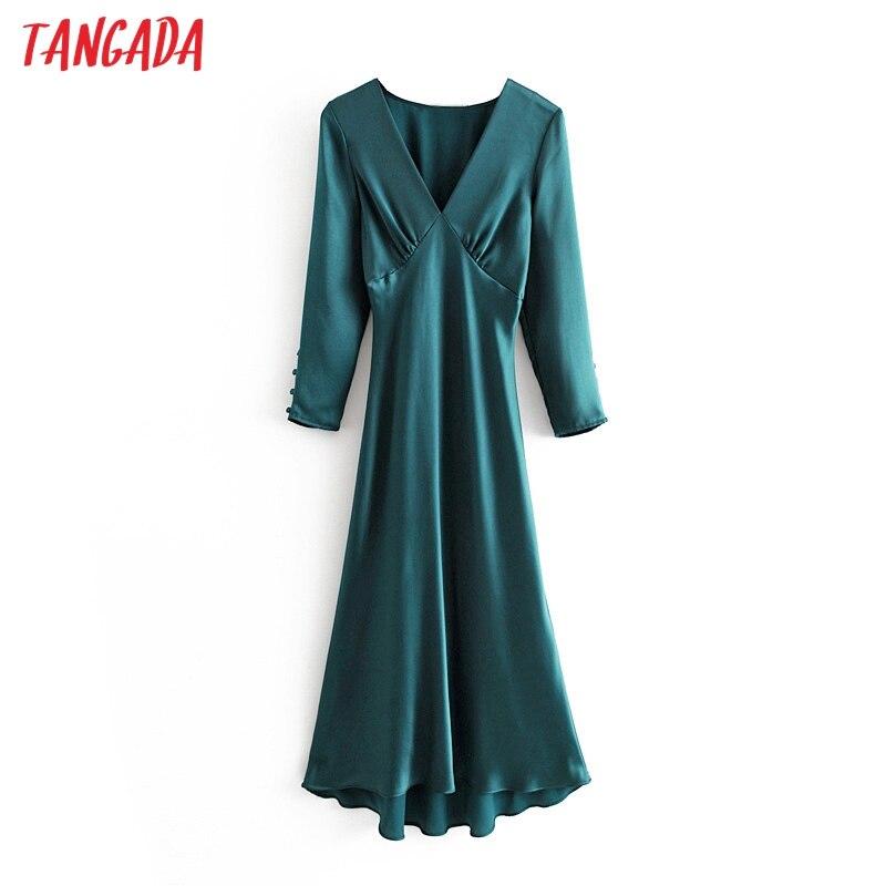 Tangada femmes corée solide robe profonde col en v à manches longues plissée vintage fête robe midi dames vestidos 3H30