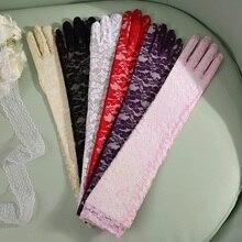 50cm Transparent Gloves Lace Women Black Red White Pink Purple Long Glo