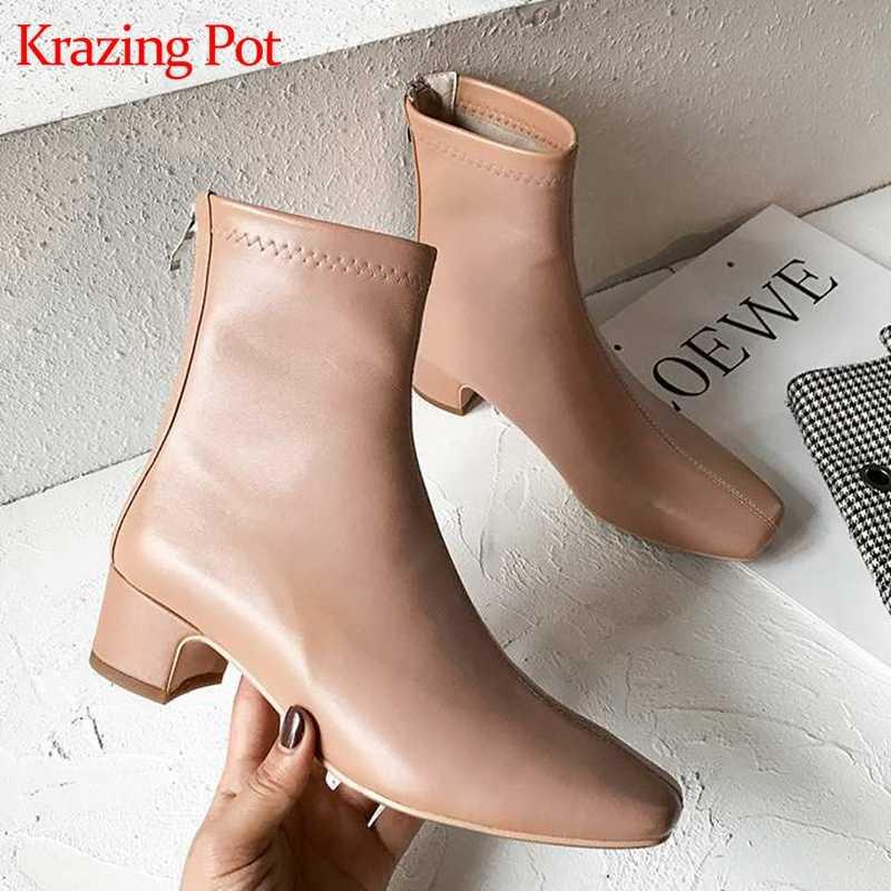 Krazing pot doğal koyun deri kare ayak kalın med topuklar yarım çizmeler düğün seksi fermuar el yapımı muhteşem Chelsea çizmeler L57