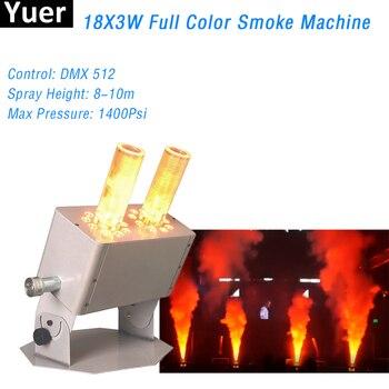 цена на 2Pcs/Lot High Quality RGB 3IN1 LED Fog Stage Effect Smoke Machine 18X3W DJ Disco Club Christmas Party CO2 Jet Machine Equipment