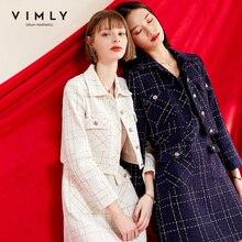Mini Dress Suit Jacket Set Short Office Elegant Autumn Sleeveless 2pcs V-Neck Vimly 98291