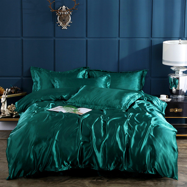 4 Stuks Satijn Zijde Beddengoed Set Luxe Queen King Size Bed Set Dekbed Dekbedovertrek Beddengoed En Kussensloop Voor Enkele dubbele Beddengoed