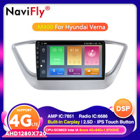 2.5D IPS screen Android 10.0 Car DVD multimedia navigation For Hyundai Verna Solaris 2017 2018 Stereo Bluetooth Radio GPS DSP