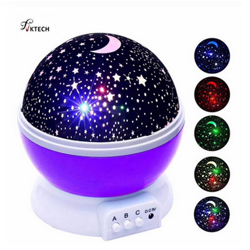 Stars Starry Sky LED Night Light Projector Moon Lamp Battery USB Bedroom Party Projection Lamp for Children's Night Light Gift