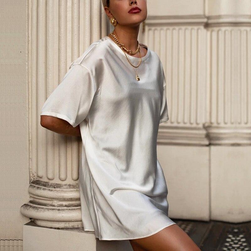 Summer Solid Silk T-Shirt Dress Women Basic Loose Mini Dress Women Short Sleeve Casual Black White Tops Femme Soft 2020