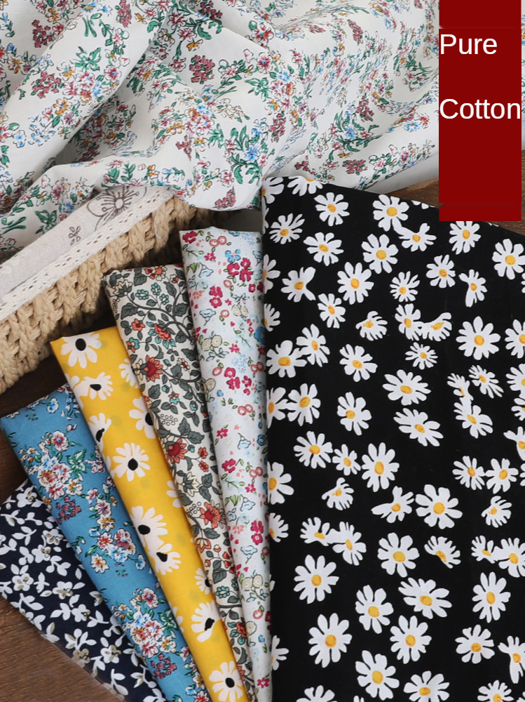 Flowers Brocade Fabrics By The Meter Floral Daisy Printed Dress Skirt for Sewing Diy 100% Cotton Fabric Princess Kids Per Meters