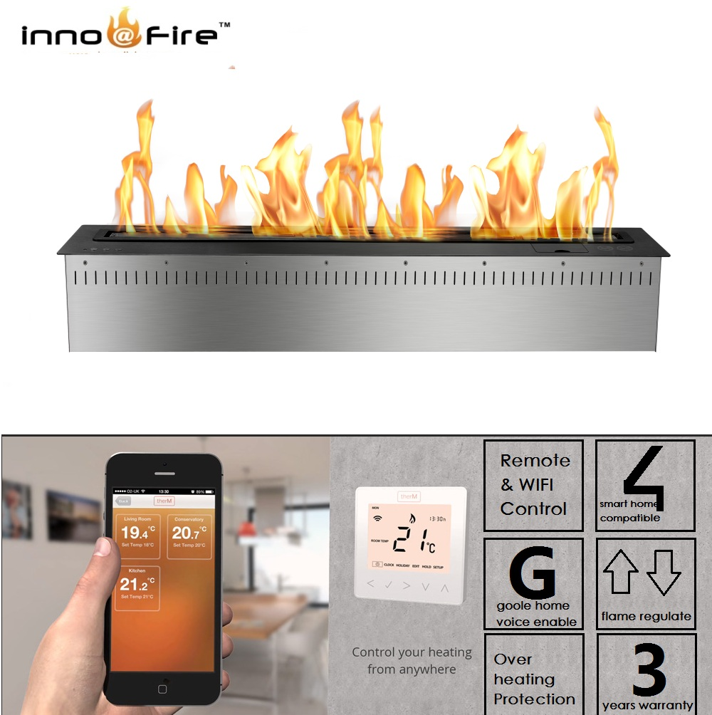 Hot Sale 24 Inches Wifi Real Fire Indoor Intelligent Smart Bio Ethanol Electric Fireplace Heater