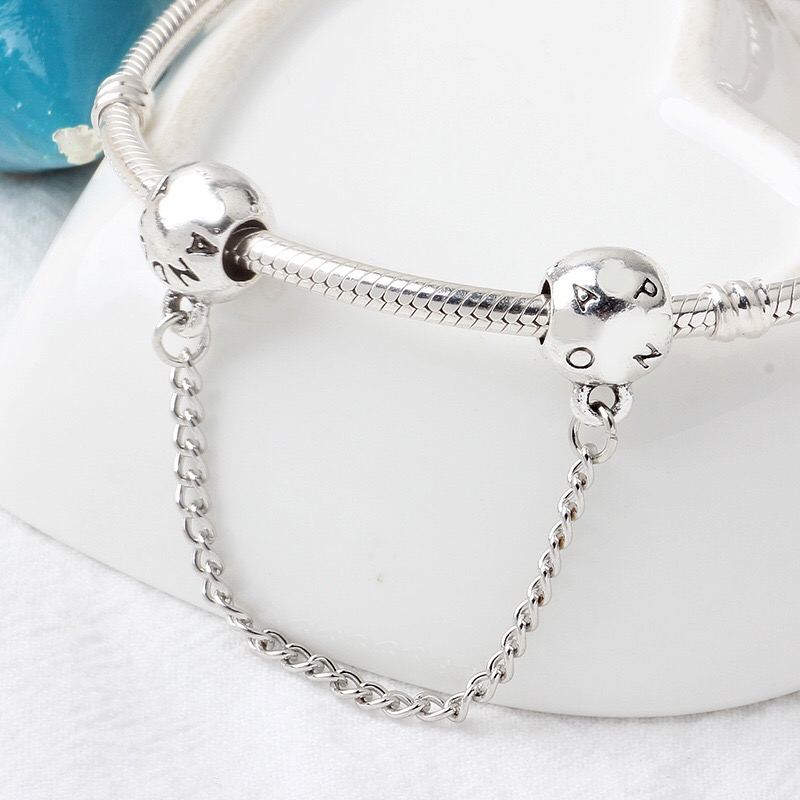 Original Safety Chain DIY Mickey Bead Charms Fit Pandora Women Pandora Bracelet & Bangles Jewelry bijoux femme
