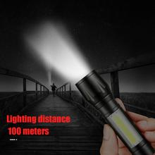 T6 COB LED Flashlight USB Rechargeable Telescopic Zoomable Torch Light Lamp for Outdoor Camping Night Fishing 2 packs zoomable xml t6 led flashlight torch zoom lamp light charger for hunting cycling climbing camping and outdoor activit