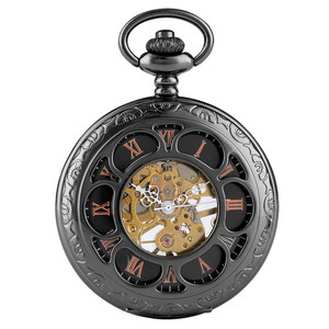 Image 3 - Vintage Black/Silver Hollow Flower Design Mechanical Pocket Watch Retro Hand Winding Pendant Watch Pocket Chain Clock Gifts