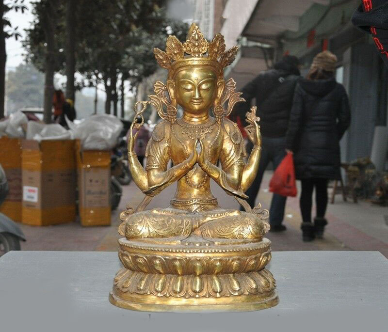 Wedding Decoration Tibetan Buddhism Bronze Gilt Lotus 4 Arms Chenrezig Tara Kwan-yin Buddha Statue