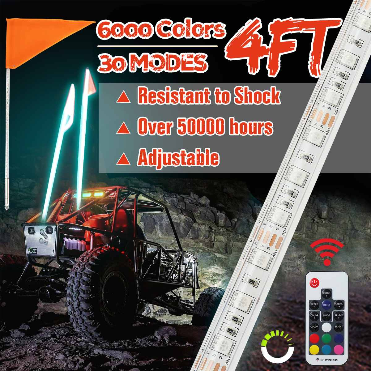 Whip Light 12V 3/4ft LED Flag Pole Safety Antenna Whip Lights 13-22W/16-30W For Sand UTV ATV Truck For Jeep For Sand Rails