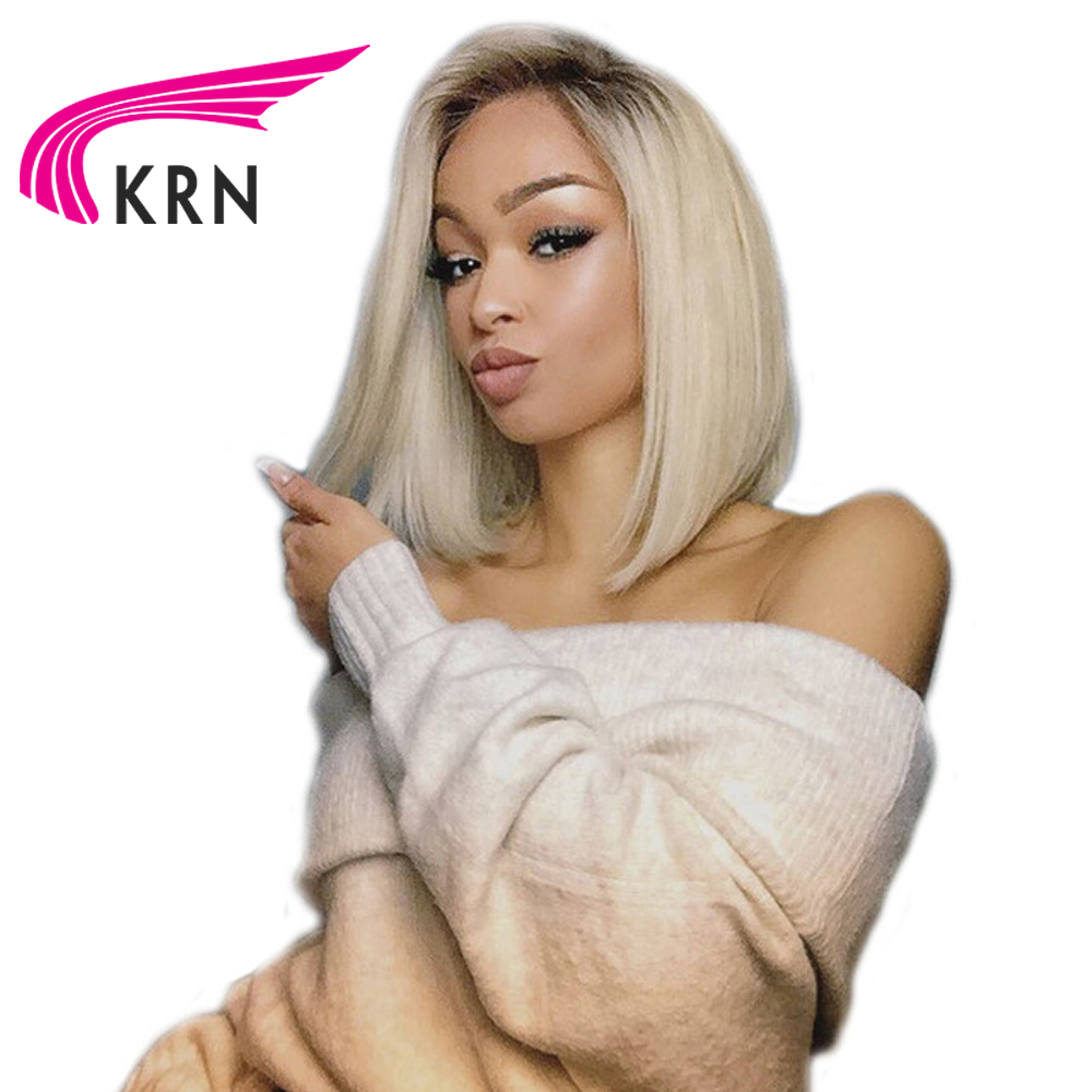 KRN Lace Front Bob Wig 1B /613 Ombre Blonde Straight HD Lace Brazilian Human Remy Hair Pre Plucked Short Half Wig For Women