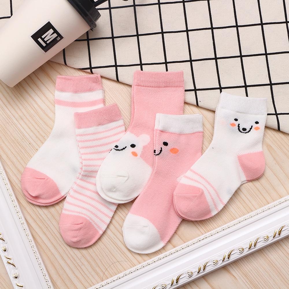 5Pairs/lot 2-9Y Baby Socks Summer Cotton Color Aminal Bear Kids Socks Colorful Girls Mesh Cute Newborn Boys Toddler Socks Baby 4