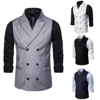 Brand Suit Vest Men 2019 Classic Fashion Double Breasted Elegant Business Slim Fit Waistcoat Vintage Sleeveless Jacket Wedding