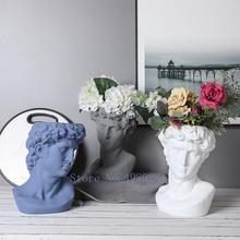 Creativity Ceramics Vase David Human Head Character Sculpture Flower Arrangement Modern