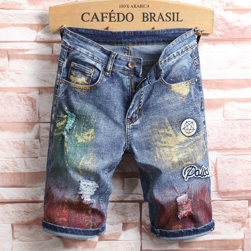 New Style Summer MEN'S Jeans Shorts Europe And America Joint Paint With Holes Elasticity MEN'S Middle Pants Shorts