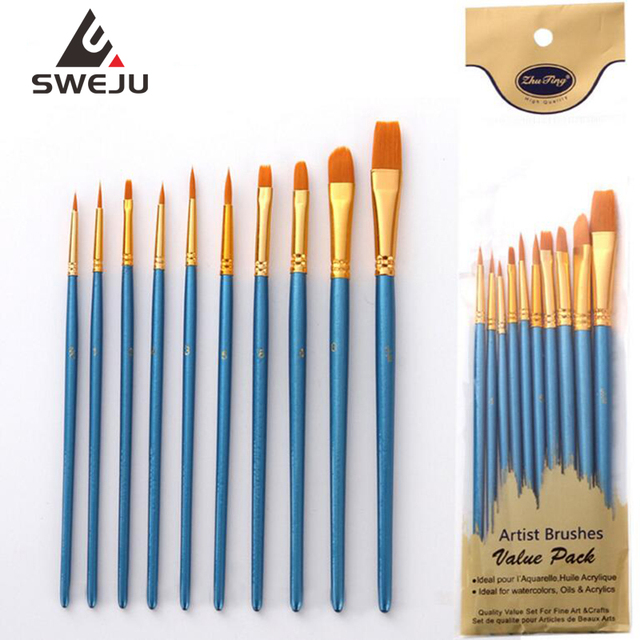 10Pcs/Set Nylon hair paint brush different sizes oil watercolor drawing art brush  painting materials supplies