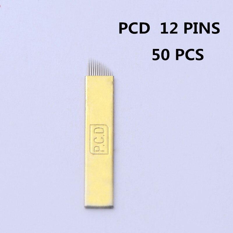 100 Pcs 12 Pin Hard PCD Needle 12 Blade Lamina Agulhas Tebori Microblading Permanent Makeup Eyebrow Tattoo Needles Supplies in Tattoo Needles from Beauty Health