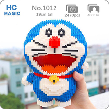 HC 1012 Anime rysunkowy Doraemon kot zwierzę domowe Robot 3D Model DIY Mini diamentowe klocki klocki zabawki do budowania dla dzieci bez pudełka