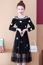 COIGARSAM 5XL mozaika w dużym rozmiarze kobiety sukienka jednoczęściowa koreańska, wiosenna Polka suknie w kropki 9285