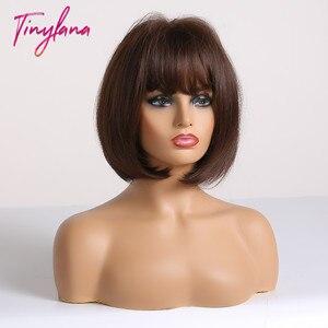 Image 2 - Perucas sintéticas com franja para mulheres curto bob peruca resistente ao calor bobo penteado para cosplay