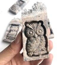 Natural stone quartz mineral crystals cluster carved owl healing gemstones reiki home decoration