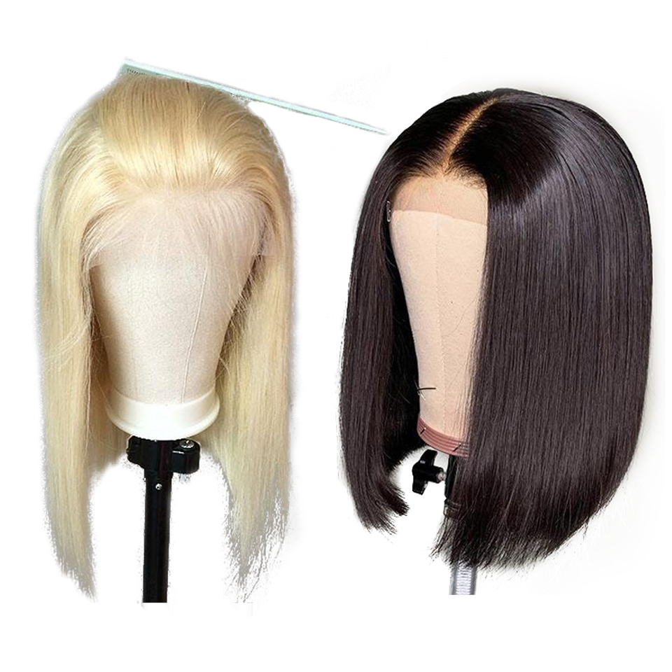 Miss Rola Short Lace Front 13*4 Remy Human Hair Wigs 150% Density Bob Wig For Black Women Brazilian Straight Wig Color 613