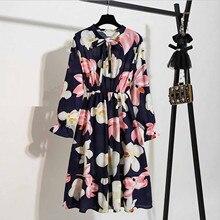 Boho Dress Oversized Long-Sleeve Vintage Printing Chiffon Party Floral Elegant Casual