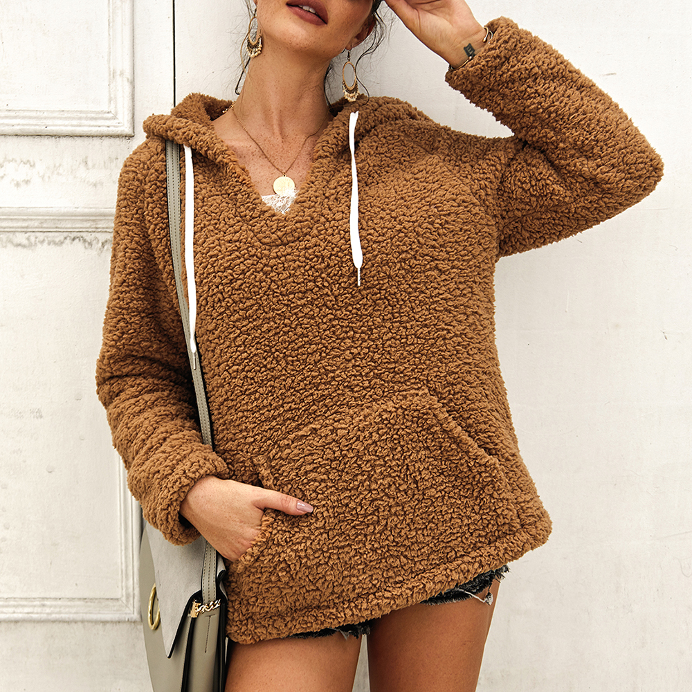 Women's Long Sleeve Loose Fuzzy Pullover Outwear Sweater With Pockets V-neck Solid Color Hooded Sweater Monden N1