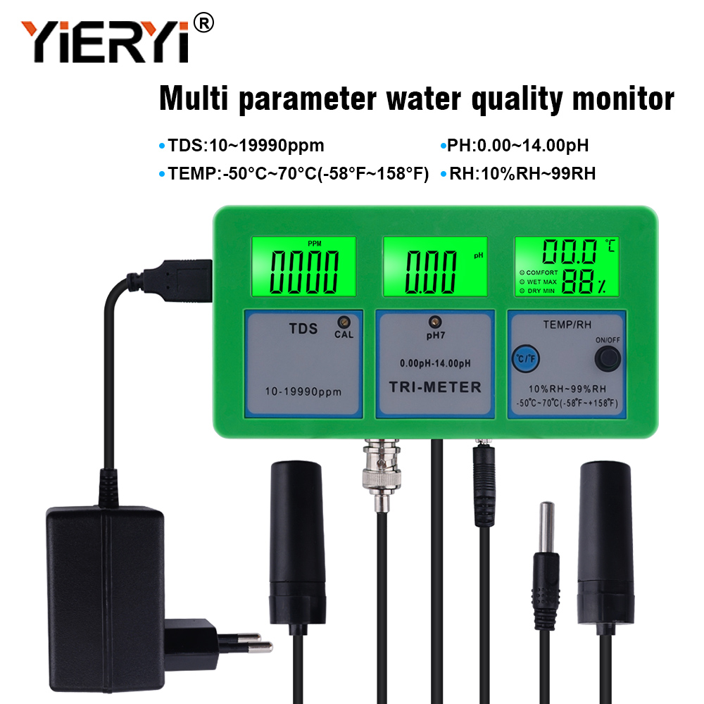 Yieryi 4 In 1 PH TEMP TDS RH Water Quality Tester Monitor PH Meter Multi-parameter Aquarium Water Meter