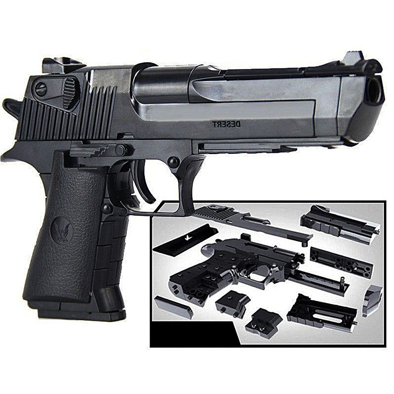 Plastic Desert Eagle Toy Gun Assembly Pistol Weapon Air Gun Model DIY Puzzle Block Simulation Gun Outdoor Toy Child Safety