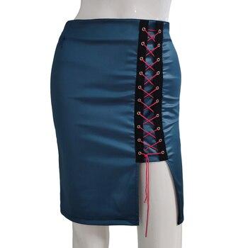 High Waist Sexy PU Leather Skirt Women Solid Skirts 2020 Summer Mini Bodycon Skirt Bandage Hem Split Hip Pencil Skirt Female