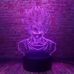 Image 4 - Dragon Ball Super Saiyan God Goku Action Figures 3D Illusion Table Lamp 7 Color Changing Night Light for Boys Child Kids Baby