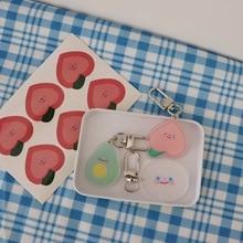 Ins Cartoon Avocado Peach Smiling Face Key Buckle Girl Stationery Cute Bag Decorative Accessories Creative Pendant Key Chain