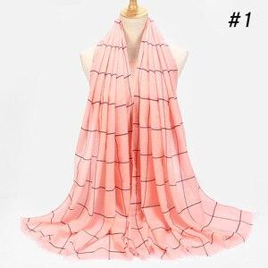 Image 5 - ลายสก๊อตคลาสสิกผ้าคลุมไหล่ผ้าฝ้ายมุสลิมHijabผ้าพันคอสำหรับสุภาพสตรีCross StripesสีอิสลามHijabsผ้าพันคอผ้าคลุมไหล่