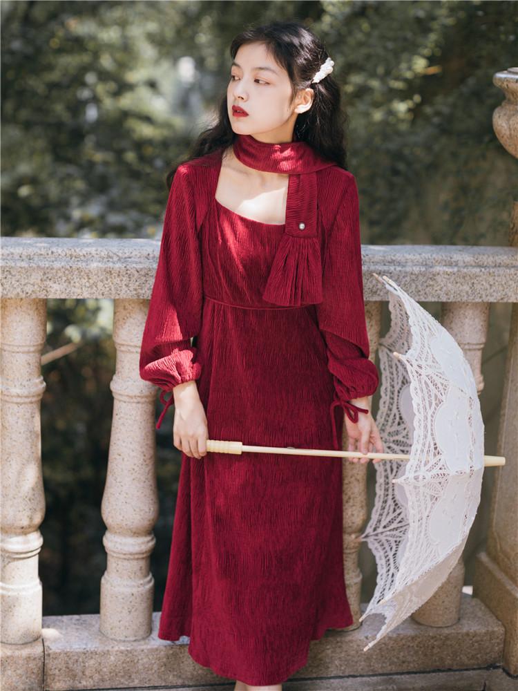 Autumn & Winter WOMEN'S Dress French Palace Retro Burgundy Velvet Square Collar Dress Long Sleeve Elegant Goddess-Style Clothes