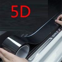 5D de fibra de carbono de Borde de puerta guardias Protector de alféizar película de envoltura de coche película de revestimiento de vinilo coche Umbral de puerta de protección película Anti-colisión de la