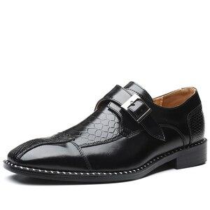 Image 2 - 2020 Mens Dress Shoes Buckle Business Skyle Oxfords Formal Leather Shoes Elegant Wedding Loafers Big Size