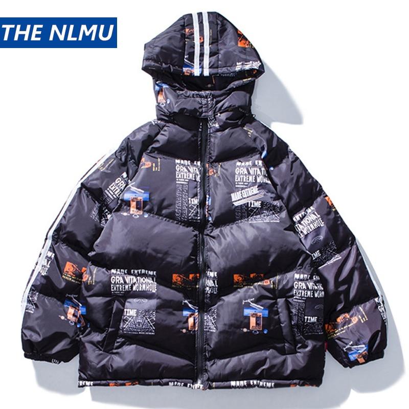 2019 Winter Padded Jacket Coat Hip Hop Hooded Parka Graphic Print Streetwear Men Windbreaker Harajuku Parkas Warm Outwear HZ237