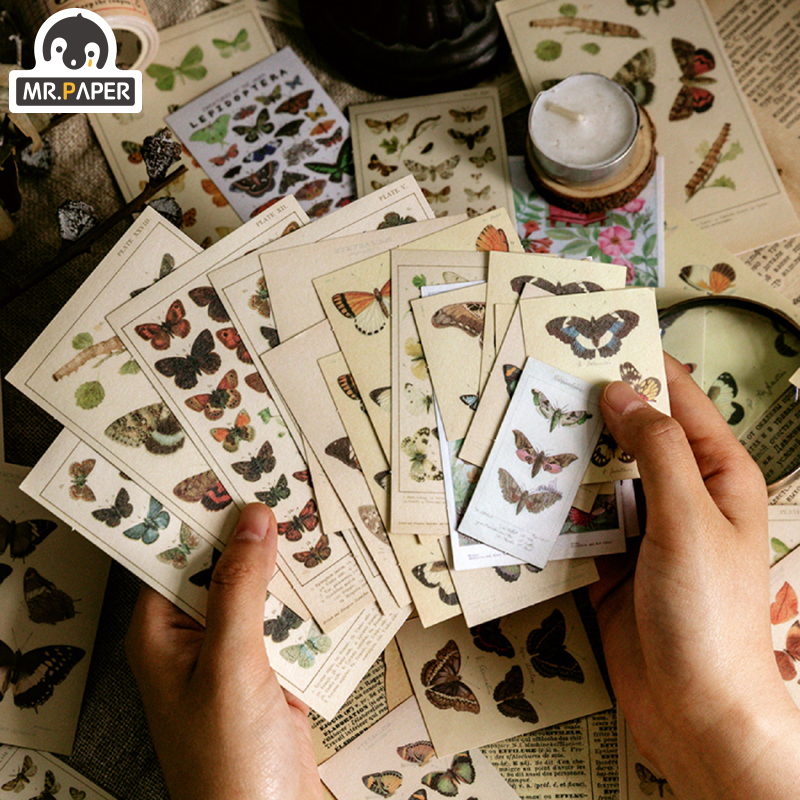 Mr.paper 8 Designs 60 Pcs/lot Encyclopedia Deco Stickers Scrapbooking DIY Bullet Journal Popular Deco Stationery Stickers Escola