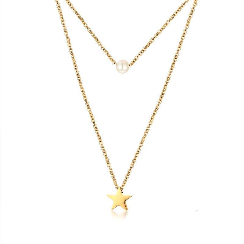 Vnox 女性スタームーンコインチャームダブル層チョーカーネックレスゴールドカラーステンレス鋼女性パーティーギフトジュエリー
