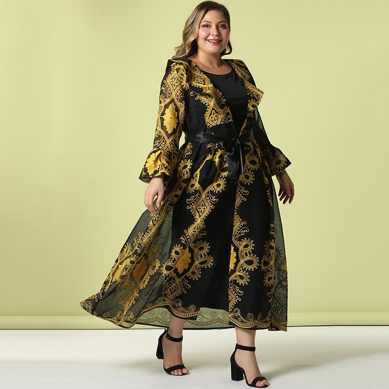 Fashion Women Plus Size Elegant Casual Long Sleeve High Waist Stitching Golden Embroidery Mesh Sashes Black Maxi Dress