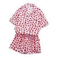 Women Shirts Sets Heart Stripe Print Pajamas Cute Harajuku Kpop Bangtan Boys Jungkook Same Style shirt Pants Sets Nightwear Set